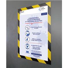 Porte document adhésif repositionnable - jaune et noir - A4 - Lot de 2