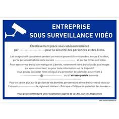 Panneau entreprise sous vidéo surveillance à personnaliser - RGPD