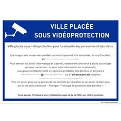 Panneau ville placée sous vidéoprotection à personnaliser - RGPD