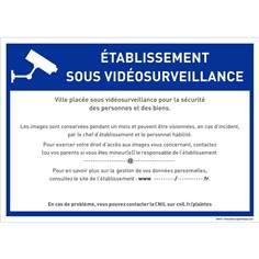 Panneau établissement scolaire sous vidéo surveillance à personnaliser - RGPD