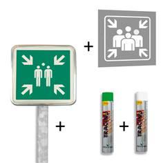Pack point de rassemblement - Kit panneau routier ISO 7010 + pochoir