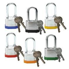Cadenas en acier laminé - H 38 mm - clés différentes - Lot de 6 cadenas