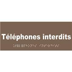 Plaque de porte Texte relief - Téléphones interdits - H 80 x L 200 mm