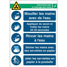 Affiche instructions nettoyage des mains