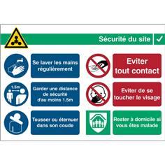 Consignes de sécurité - Covid-19 Dimension H 252 x L 371 mm Matière Vinyle adhésif