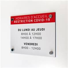 Panneau Horaires d´accueil - H 210 x L 300 mm - Avec vis et cache-vis