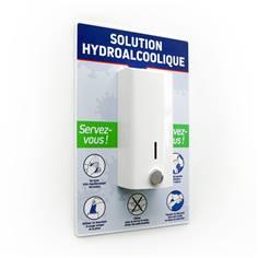 Distributeur gel hydroalcoolique sur panneau Gestes Barrières