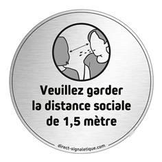 Plaque en aluminium brossé Veuillez garder la distance sociale - Ø 83 mm