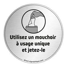 Plaque en aluminium brossé Utilisez un mouchoir à usage unique - Ø 83 mm