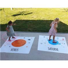 10 Tapis de distanciation sociale pour Ecole - 1.5 x 1.5 m - Les planètes