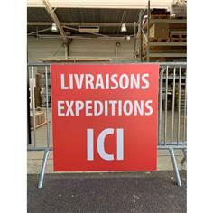 """Panneau """"Livraisons Expéditions ICI"""" Akylux - Dim 600 x 840 mm"""