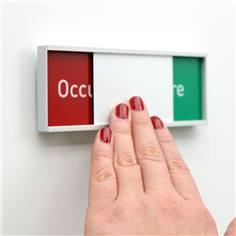 Plaque Occupé/libre en 5 langues - H 54 x L 151 mm - Fixation adhésive fournie