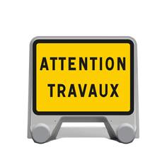 Panneau de chantier Attention travaux en plastique - KC1 22P