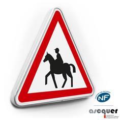Panneau de danger Attention Chevaux - A15c