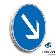 Panneau Contournement obligatoire par la droite - B21a1