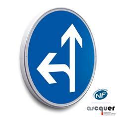 Panneau Aller tout droit ou à gauche - B21d2