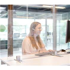 Séparateur de bureau ou de comptoir en verre trempé sur pied Inox - Gamme Luxe