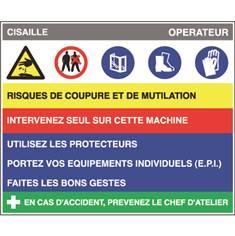 Fiche sécurité cisaille - H 200 x L 240 mm - PVC 2 mm