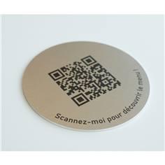 Etiquette Menu QR Code en aluminium ø 83 mm