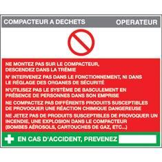 Fiche sécurité compacteur à déchets - H 210 x L 300 mm - Alu dibond 3 mm