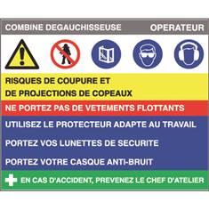 Fiche sécurité combiné dégauchisseuse - H 200 x L 240 mm - PVC 2 mm