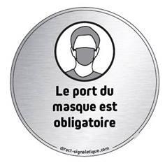 Plaque en aluminium brossé Port du masque obligatoire - ø 83 mm