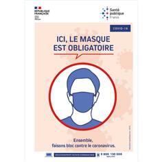 Panneau Officiel Port du Masque Obligatoire en PVC - Format A4