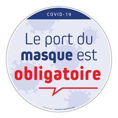 Marquage au sol rond Port du masque obligatoire avec texte Ø 250 mm