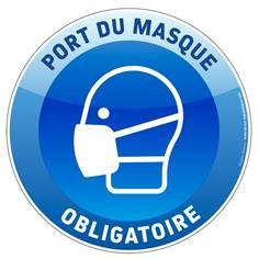 Marquage au sol masque obligatoire rond bleu et blanc Ø 250 mm