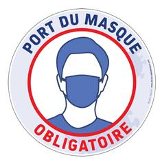 Marquage au sol Port du masque grand public obligatoire Ø 250 mm