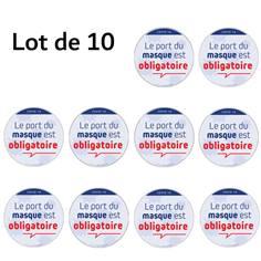 Lot de 10 Autocollants avec texte Port du Masque Obligatoire - Ø 150 mm