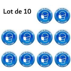 Lot de 10 Autocollants Rond bleu et blanc Port du Masque Obligatoire - Ø 150 mm