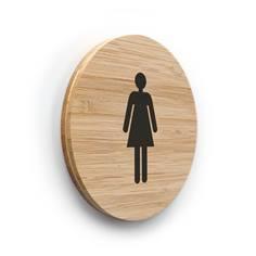 Plaque de porte picto Toilettes Femmes ø 83 mm - gamme Bamboo