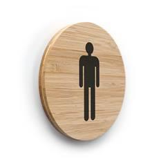 Plaque de porte picto Toilettes Hommes ø 83 mm - gamme Bamboo