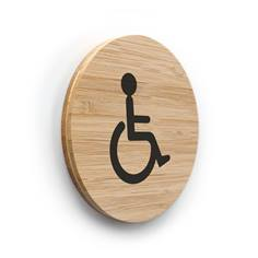 Plaque de porte picto Toilettes PMR ø 100 mm - gamme Bamboo