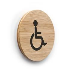 Plaque de porte picto Toilettes PMR ø 83 mm - gamme Bamboo