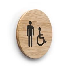 Plaque de porte picto Toilettes Hommes PMR ø 83 mm - gamme Bamboo