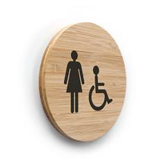 Plaque de porte picto Toilettes Femmes PMR ø 100 mm - gamme Bamboo