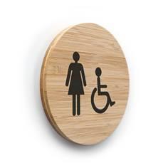 Plaque de porte picto Toilettes Femmes PMR ø 83 mm - gamme Bamboo
