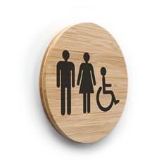 Plaque de porte picto Toilettes Hommes Femmes PMR ø 83 mm - gamme Bamboo