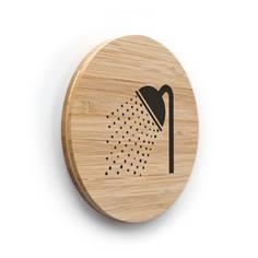 Plaque de porte picto Douche ø 83 mm - gamme Bamboo