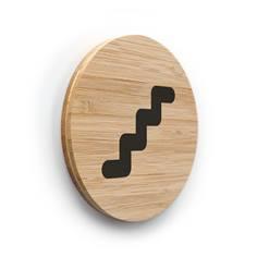 Plaque de porte picto Escaliers ø 83 mm - gamme Bamboo
