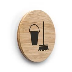 Plaque de porte picto Local ménage ø 83 mm - gamme Bamboo