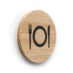 Plaque de porte picto Cuisine ø 100 mm - gamme Bamboo