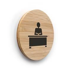 Plaque de porte picto Bureau ø 83 mm - gamme Bamboo
