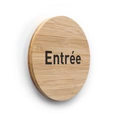 Plaque de porte texte Entrée ø 83 mm - gamme Bamboo