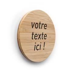 Plaque de porte texte personnalisé ø 83 mm - Gamme Bamboo