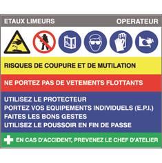 Fiche sécurité étaux limeurs - H 200 x L 240 mm - PVC 2 mm