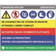 Fiche sécurité fraiseuse atelier - H 200 x L 240 mm - PVC 2 mm