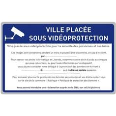 Panneau routier vidéoprotection RGPD - Classe 1 - H 350 x L 500 mm
